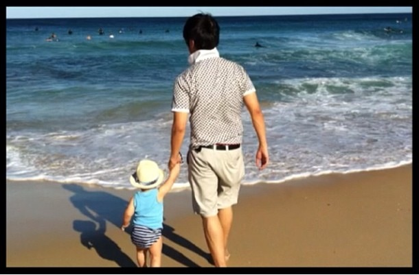 Jax and Daddy at Maroubra Beach